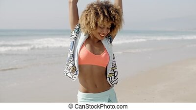 Woman Joyful With Arms Up