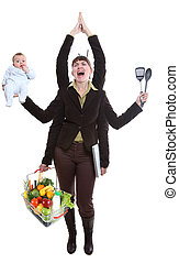 woman juggling fruit - Modern woman having to deal with...