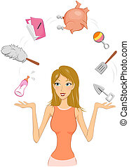 Woman Juggling - Woman juggling between different tasksl...
