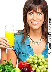 Woman, juice, vegetables and fruits - Young smiling woman ...