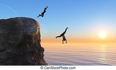 woman jumping from a rock into the sea