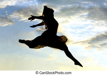 Woman Jumping Through the Sky