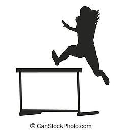 Woman jumps over the hurdle. Steeplechase. Running woman