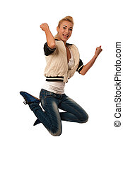 woman jumps over white background gesturing success