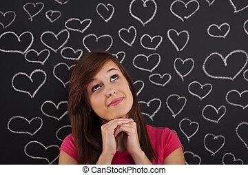 woman külső, feláll, kedvesen, noha, piros, húzott, képben látható, tábla