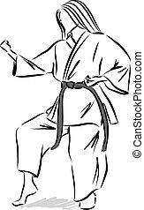 woman karate illustration