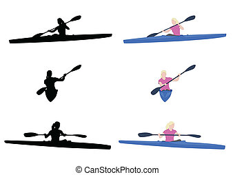 woman kayaking silhouettes and illustration - vector