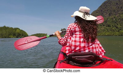 Woman Kayaking In Beautiful Lagoon Action Camera POV Of Girl Paddling On Kayak Boat In Sea