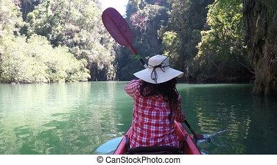 Woman Kayaking In Beautiful Lagoon Action Camera Back Rear...
