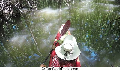 Woman Kayaking On Tropical River Action Camera POV Back Rear View Of Girl Paddling On Kayak Boat