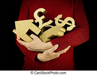 keeping hold of possessions - woman keeping hold of...