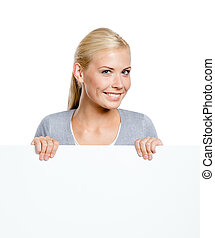 Woman keeping huge sheet of paper