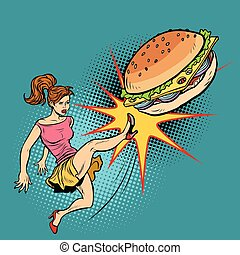 Woman kicks Burger, fastfood and healthy food. Pop art retro vector illustration comic cartoon kitsch drawing