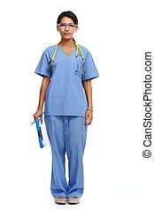 woman., kinesisk, doktor