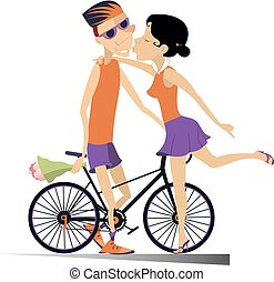 Woman kissing a cyclist man who has won the race illustration