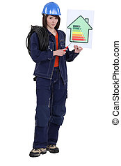 Woman laborer holding energy rating sign