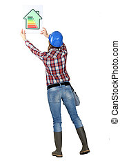 woman laborer showing a sign of energy consumption