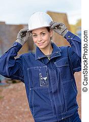 woman laborer smiling