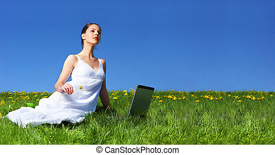 Woman, laptop, blue sky