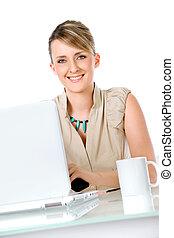 Woman laptop cup
