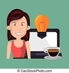 woman laptop idea coffee
