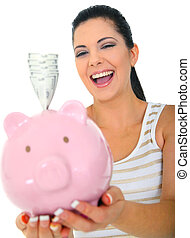 Woman Laughing Holding Money