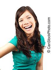 Woman laughing - Beautiful young woman laughing
