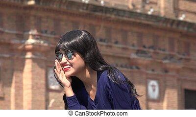 Woman Laughing Wearing Sunglasses And Wig