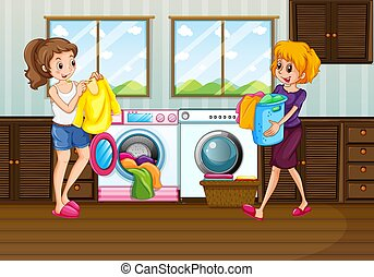Woman laundry in the room