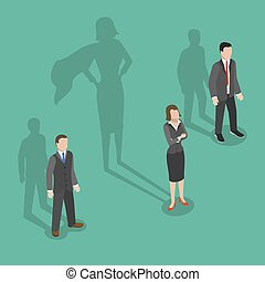 Woman leader flat isometric vector concept.