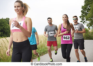 Woman leading at the marathon