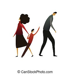 Woman leads a child away from a sad man. Vector illustration on white background.
