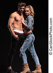 Woman leaning on her boyfriend