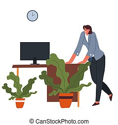 Woman leaning table in office, worker at working place