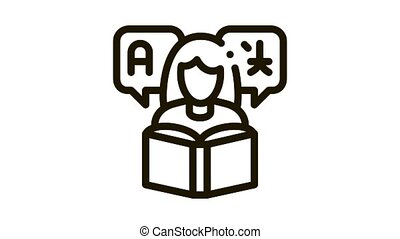 Woman Learning Language Icon Animation. black Girl With Dictionary Reading Book For Study Foreign Language animated icon on white background