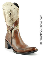 woman leather cowboy boot