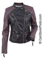 jacket - Woman leather jacket isolated on a white background