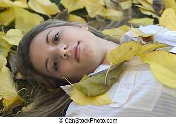 Woman & Leaves 10