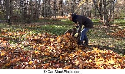 woman leaves bag garden
