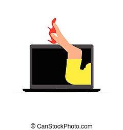 woman leg on laptop illustration