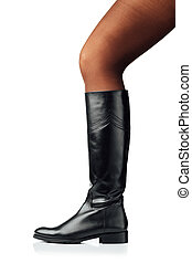 woman leg wearing black leather high boot