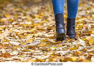 Woman legs in boots on autumn leaves