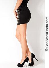 woman legs in short dress