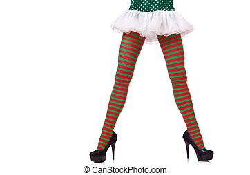 Woman legs in striped stockings on white