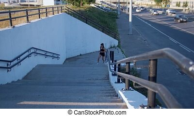 Woman Legs Jogging Up The Stairs, Near The Road