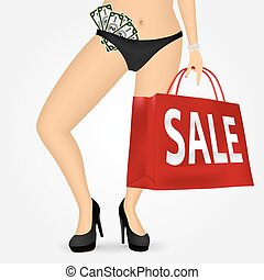woman legs on high heels holding shopping bag