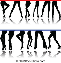 woman legs vector silhouettes