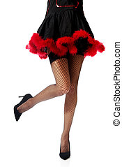 Woman legs wearing devil clothes