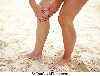 Woman legs with cramp.