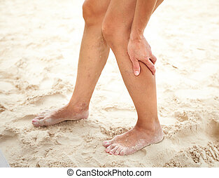 Woman legs with cramp. - Woman legs pain with cramp on the...